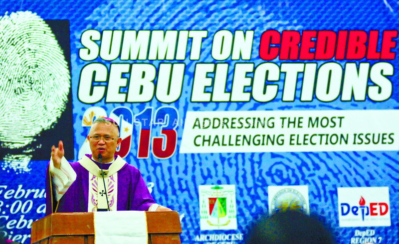 PRAYING AND WORKING FOR CREDIBLE ELECTIONS. Cebu Archbishop Jose Palma addresses participants of the Summit on Credible Cebu Elections 2013. (Sun.Star Photo/Alex Badayos)