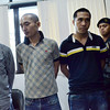 """ON THE ROAD NO MORE.  Car theft suspects (from left) Kim Jae Young (alias Leo Lim), Hong Seo Yong (alias Luis) and Raphael """"Raprap"""" Montilla are presented by a joint team from the Central Visayas and Mandaue City police offices. (Sun.Star Photo/Amper Campana)"""