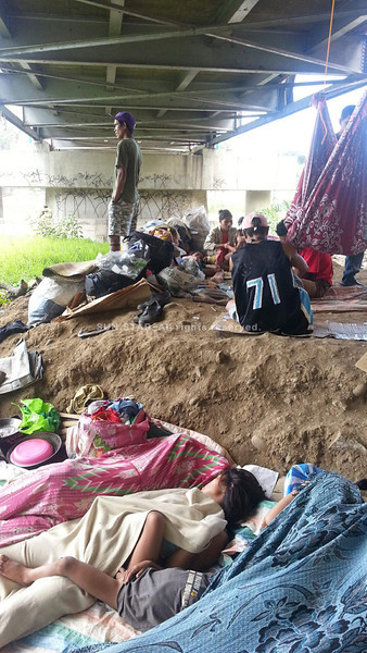 CAGAYAN DE ORO. At least three families of Lumads from Bukidnon utilize the space under Carmen Bridge in Cagayan de Oro. They left their residence in San Fernando town due to the alleged harassments made by the New People's Army. (Joey P. Nacalaban)
