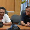 ZAMBOANGA. City Hall photo handouts shows businessman Edgar Fabella (left) answers questions in a press briefing as Mayor Celso Lobregat listens. (Bong Garcia)