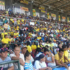 CAGAYAN DE ORO. President Benigno Aquino III speaks before hundreds of supporters during a campaign sortie at the Pelaez Sports Center in Cagayan de Oro Tuesday. (Joey P. Nacalaban
