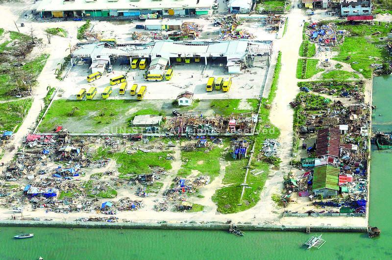 Aerial shot of Bogo City after Typhoon Yolanda