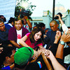 CEBU.  After her speech, with dusk falling, Cebu Gov. Gwendolyn Garcia reaches out to her supporters in the intersection in front of the Capitol building. She returned inside after the 2-hour rally, which she attended for less than an hour. (Amper Campaña)