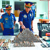 CUTTING OFF THE SOURCE.  Senior Supt. Patrocenio Comendador (left) presents the confiscated parts for the making of high-powered firearms to Chief Supt. Marcelo Garbo Jr., head of the Police Regional Office 7. Comendador said a police team seized the parts in Danao  City. (Contributed Photo/Alan Tangcawan)