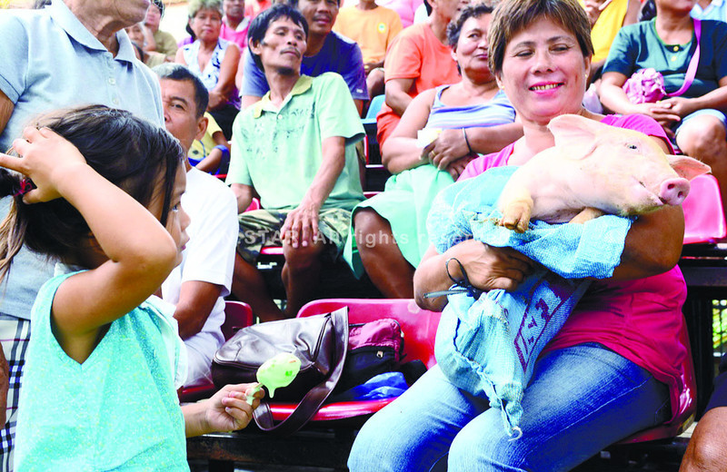 Lucita Bercero, 55, of Barangay Binabag, Bogo City is all smile after receiving her piglet as a livelihood aid from the local government unit. Bercero Lucita is among the selected survivors of Typhoon Yolanda to benefit the program. At left is her granddaughter Rihanna. (Photo by Allan Cuizon of Sun.Star Cebu)