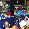 BACOLOD. City Mayor Monico Puentevella (seated left), with market supervisor Mila Lumugdang, holds a dialogue with vendors at the Central Market Tuesday as part of the City Government's ongoing efforts to put order in the operations of public markets. (Archie Rey Alipalo)