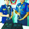 Police Inspector Arieza Otida (left) and Senior Police Officer 1 Ruth Violango show reporters their prizes for making it to the Ten Outstanding Policewomen Awards for 2012. (Photo by Amper Campana of Sun.Star Cebu)