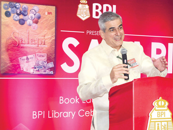 "BPI Chairman Jaime Augusto Zobel de Ayala addresses the crowd during the launch of ""Salapi"" in the bank's main Cebu City office. ""If education is mixed with history you create something that is lasting,"" he says. (Photo by Arni Aclao of Sun.Star Cebu)"