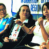 Councilor Angeles Gairanod (right) of Cordova, Cebu speaks about the child pornography issue in her town in a forum at the Philippine Information Agency. With her are DepEd Division Coordinator Glenna Plarisan (left) and DSWD Social Welfare Officer Edna Regudo. (Photo by Arni Aclao of Sun.Star Cebu)