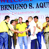 "CEBU. Danao City Vice Mayor Ramon ""Nito"" Durano III (fourth from right) is welcomed to the Liberal Party on his birthday by the provincial chairman, lawyer Hilario Davide III, and other party officials (starting second from left) like Secretary Mar Roxas, President Benigno Aquino III and Senator Franklin Drilon. Also at the ceremony were (leftmost) Durano's son, Representative Ramon ""Red"" Durano VI, Customs Commissioner Ruffy Biazon (second from right) and Energy Secretary Rene Almendras (right).  (Allan Cuizon)"