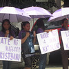 MANILA. Pro-RH advocates protest outside the Supreme Court. (Virgil Lopez/Sunnex)