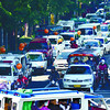 DISASTER. A motorcade, organized by government agencies to raise awareness on disaster prevention, contributes to traffic congestion on Osmeña Blvd. and Escario St., Cebu City. (Amper Campaña photo/Sun.Star Cebu)