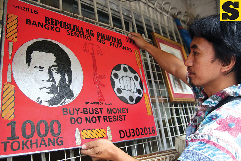Baguio artist Marlou Naoy displays a President Rodrigo Duterte artwork