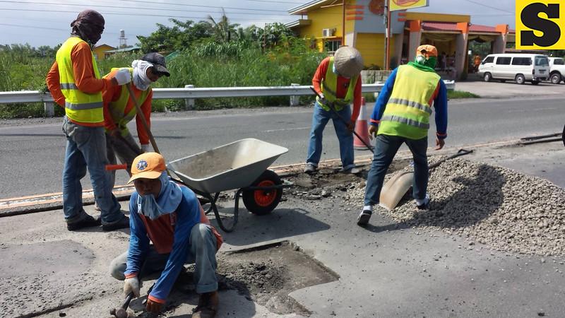 Road repair in Pampanga
