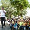 Edgardo Labella talks to City Hall employees