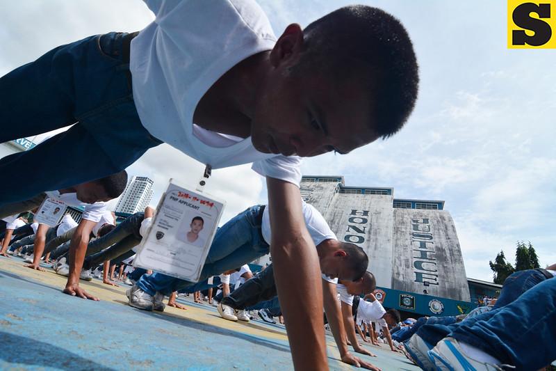 Philippine National Police recruits exercising