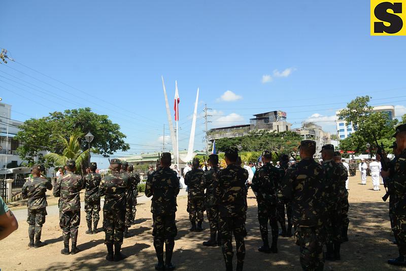 Gun salute during the Araw ng Kagitingan