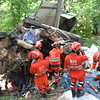 911 rescuers respond to road accident