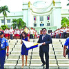 Gwen Garcia leads flag raising ceremony for the last time