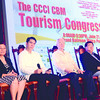 TOURISM CONGRESS. Department of Tourism Assistant Secretary Benito Bengzon (2nd from left) prepares to speak during the Tourism Congress held as part of Cebu Business Month 2013. With him are (from left) Vice Gov. Agnes Magpale, Ambassador Francisco Benedicto, who was awarded Tourism Man of the Year, and CCCI president Lito Maderazo. (Allan Defensor photo/Sun.Star Cebu)