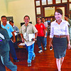 Cebu Governor Gwendolyn Garcia's (rightmost) returning to the Capitol after a 180-day suspension, holds a closed-door meeting with Provincial Disaster Risk Reduction Management Board officials led by Neil Sanchez (fourth from left).  (Amper Campaña/Sun.Star Cebu)
