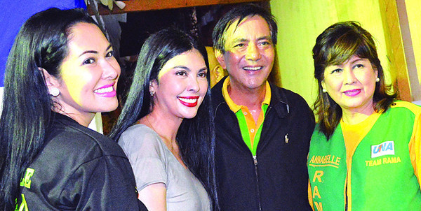 CEBU. Annabelle Rama (right), together with Pops Fernandez (second from left), Ruffa Guitterez and Mayor Michael Rama, during Annabelle's birthday celebration/political rally at Plaza Independencia last April 28. (Alan Tangcawan)