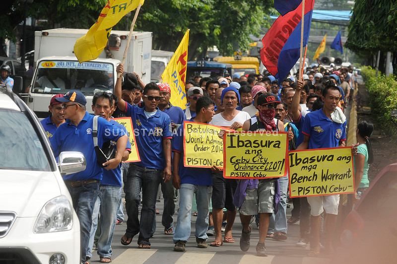 EBU. The drivers expressed their opposition to the new government order that increases penalties for road use and franchise infractions. (Arni Aclao/Sun.Star Cebu photo)