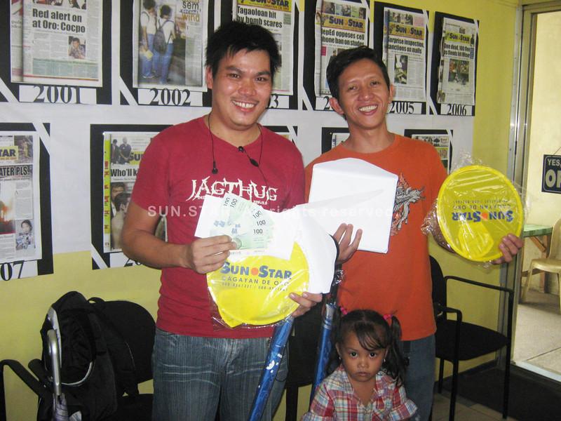 CAGAYAN DE ORO. The next two winners (from left) Jose J. Cordova and Julius T. Bacatan. (Mitz Anga)