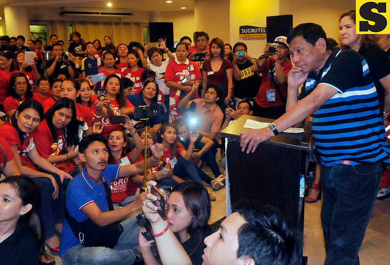 Davao City Mayor Rodrigo Duterte in a dialogue with women's group