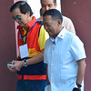 Jejomar Binay with Mike Rama during presidential debate in Cebu