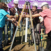 CAGAYAN DE ORO. Mayor Vicente Emano (extreme right) spearheads the capsule-laying of the Sendong Memorial Wall on Friday. Assisting him are Gean Tulang (far left); Bertolt Daems, JCI World president; Ivan Ruste, JCI Phils. national president; and Aleli Ramirez, chapter president. (Joey P. Nacalaban)