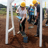 CAGAYAN DE ORO. Villanueva town Mayor Juliet Uy and B-Meg-San Miguel Foods Company Incorporated vice president and general manager Norman A. Ramos lead the laying of capsule during the firm's 15-hectare feeds milling plant groundbreaking at sitio Tagbalogo, Barangay Dayawan, Misamis Oriental, Thursday. (Joey P. Nacalaban)