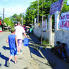 CEBU. Streamers in Sitio San Miguel, Barangay Apas, Cebu City, where the court-ordered demolition of 168 houses is scheduled to take place today, express the occupants' hopes. (Amper Campaña)