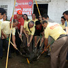 CAGAYAN DE ORO. Rep. Rufus Rodriguez (wearing a cap) leads the capsule-laying for the construction of a day care center in Barangay Macabalan together with village officials last week. (Joey P. Nacalaban)