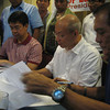 ZAMBOANGA. Senator Aquilino Pimentel (left) and ZCMC Director Dr. Romeo Ong (center) signs memorandum of agreement for the implementation of Pimentel's medical assistance program through the ZCMC. Mayor Celso Lobregat signs as witness. (Bong Garcia)
