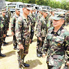 MAY PARADE. Major Gen. Roy Deveraturda (front, right) inspects soldiers who are ready to be fielded to their Visayas assignments during the elections on Monday, May 13. (Ruel Rosello)