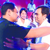 Vice Gobernatorial of onne Cebu Boboy Durano greets his running mate gobernatorial bet Pablo John Garcia after his speech in the meetinng de abanse in Danao City Boboy appears for the first time after he was stroke. Also Present, suspended Gov. Gwen Garcia.<br /> foto: Alex Badayos