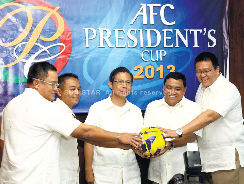 "ALL SET. AFC President's Cup organizers (from left) Nimrod Quiñones, Rodney Orale, CFA president Pericles ""Ricky"" Dakay, Glenn Quisido and Rico Navarro announced their readiness for the hosting next week. (Photo by Arni Aclao of Sun.Star Cebu)"