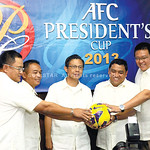 ALL SET. AFC President's Cup organizers (from left) Nimrod Qui�ones, Rodney Orale, CFA president Pericles