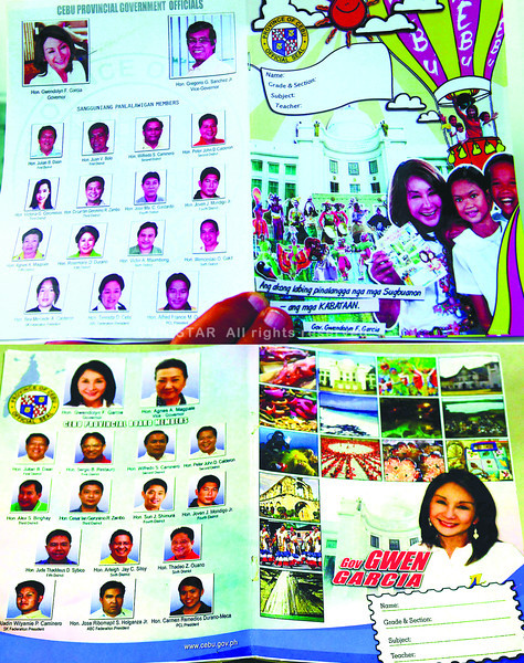 The Capitol will cover the notebooks that bear the images of official so these can finally be distributed to school around the province. (Sun.Star file)
