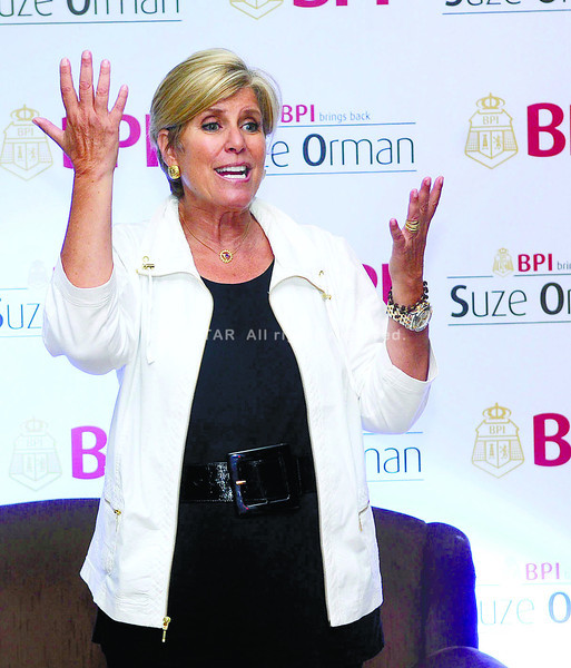 Suze Orman. The Emmy award-winning TV host told clients of BPI in a talk sponsored by the bank that as the Philippines scored investment grade ratings from reputable agencies worldwide, it is now a target for the big firms to open up shop.   (SUNSTAR FOTO/ARNI ACLAO)