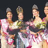 CROWNING GLORY. Eighteen-year-old Steffi Rose Aberasturi (center) bags the Miss Mandaue 2013 crown while contender Marie Michelle Puche (second from left) lands with the first runner-up title. Mandaue City's crowned beauties this year also include Eva Psyche Patalinjug (second from right), second runner-up; Apriel Smith (leftmost), third; and Mhon Theress Menaling, fourth runner-up. (Alan Tangcawan)