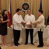 President Benigno Aquino III witness the turnover by Ayala Land, Inc. (ALI) President Antonio Aquino to Finance Secretary Cesar Purisima of a check representing ALI's initial purchase payment of about P22 billion for the 74 hectare FTI propety,held at the Reception Hall, Malacañan Palace. Also witnessing the turnover are DPWH Secretary Rogelio Singson, Taguig Mayor Lani Cayetano and Ayala Land Chairman Fernando Zobel de Ayala. ( Photo by Benhur Arcayan/Ma lacanang Photo Bureau )