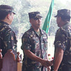 CAGAYAN DE ORO. Incoming 4th Infantry Division chief Major General Nestor Añonuevo (middle) shakes hand with Brigadier General Romeo Gapuz, the outgoing 4th ID head while Lieutenant General Emmanuel Bautista, Army chief, looks on in a formal turn-over of command on Tuesday. (Joey P. Nacalaban)