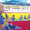 LET'S DO THIS. Ricky Ballesteros and the Department of Education offi cials and tournament managers of the Cebu City Olympics are pumped to get the city meet going as they look toward a strong team for the Palarong Pambansa, which the region will be hosting in Dumaguete City. (Alex Badayos)