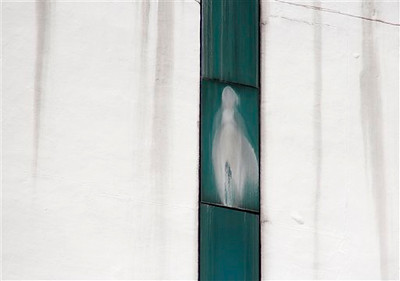An image believed to be the Virgin Mary is seen on a window of a hospital in Subang Jaya, near Kuala Lumpur, Malaysia, Monday, Nov. 12, 2012. A large group of people, mostly Catholics, have gathered below the area at the hospital to pray, according to the local media. (AP Photo/Lai Seng Sin)