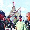 SECURING A CELEBRATION.  In a briefing Friday, Msgr. Dennis Villarojo goes over the security requirements near the template, where a national thanksgiving mass will be held on Nov. 30 in the South Road Properties, Cebu City.  (Sun.Star Photo/Alex Badayos)