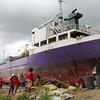 Cargo vessel washed ashore by Yolanda in Anibong, Tacloban