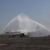 Water cannon salute for Qatar Airways
