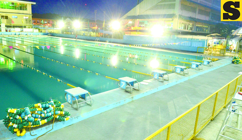 CLEAR AT NIGHT. The Cebu City Sports Center pool is cleaned daily and its filtering system is checked regularly dashing complaints of it being poorly maintained. (Amper Campaña photo/Sun.Star Cebu)